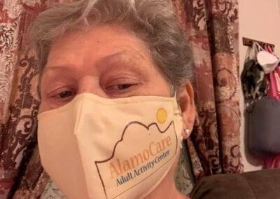 Woman wearing a AlamoCare mask