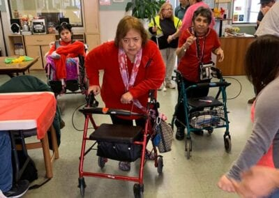 Women on walkers at assisted living center