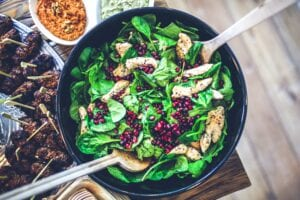 Healthy Salad with chicken and pomegranate